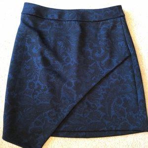 Express Blue Black Asymmetrical Stretch Skirt Sz 2